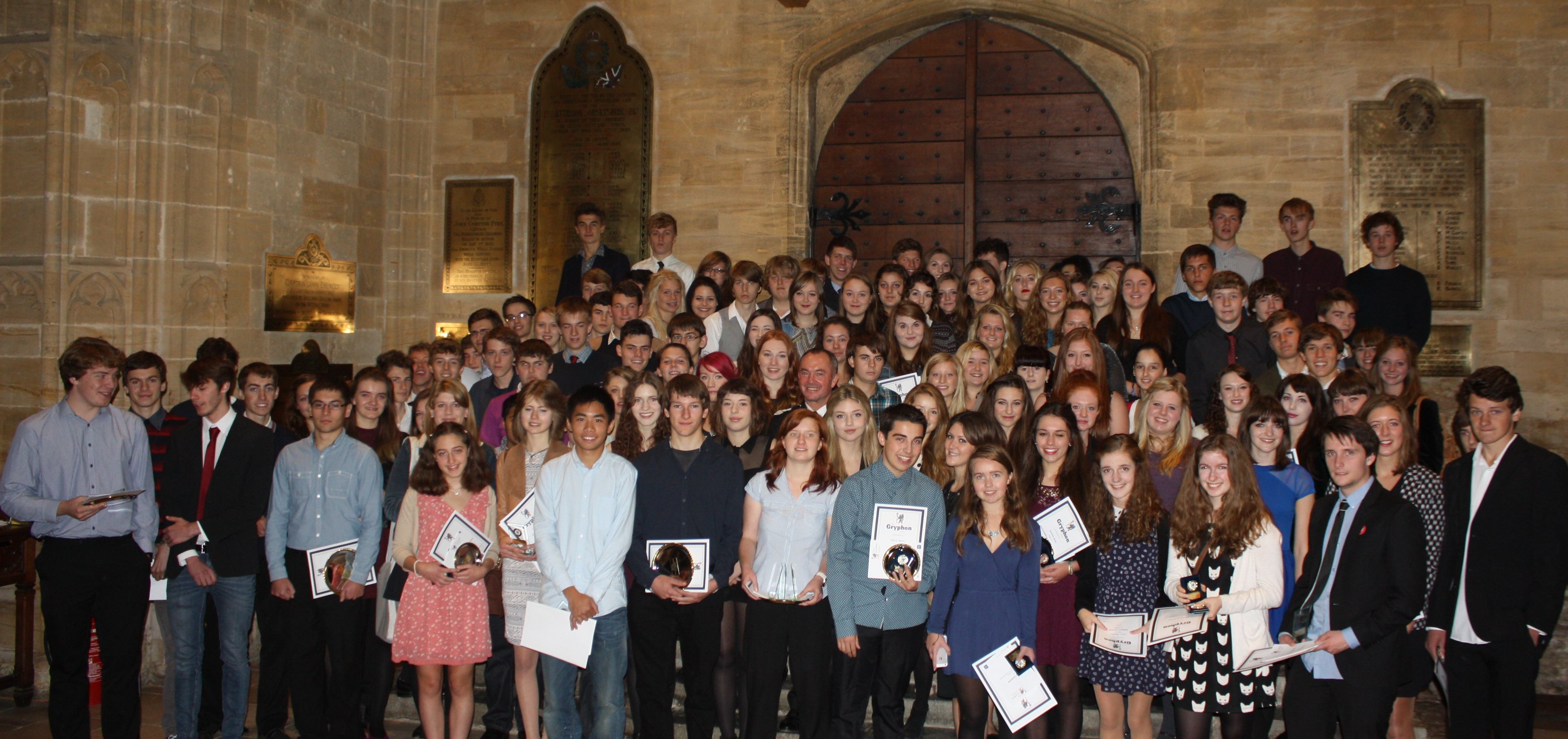 Award Winners in Sherborne Abbey 2013 Cropped