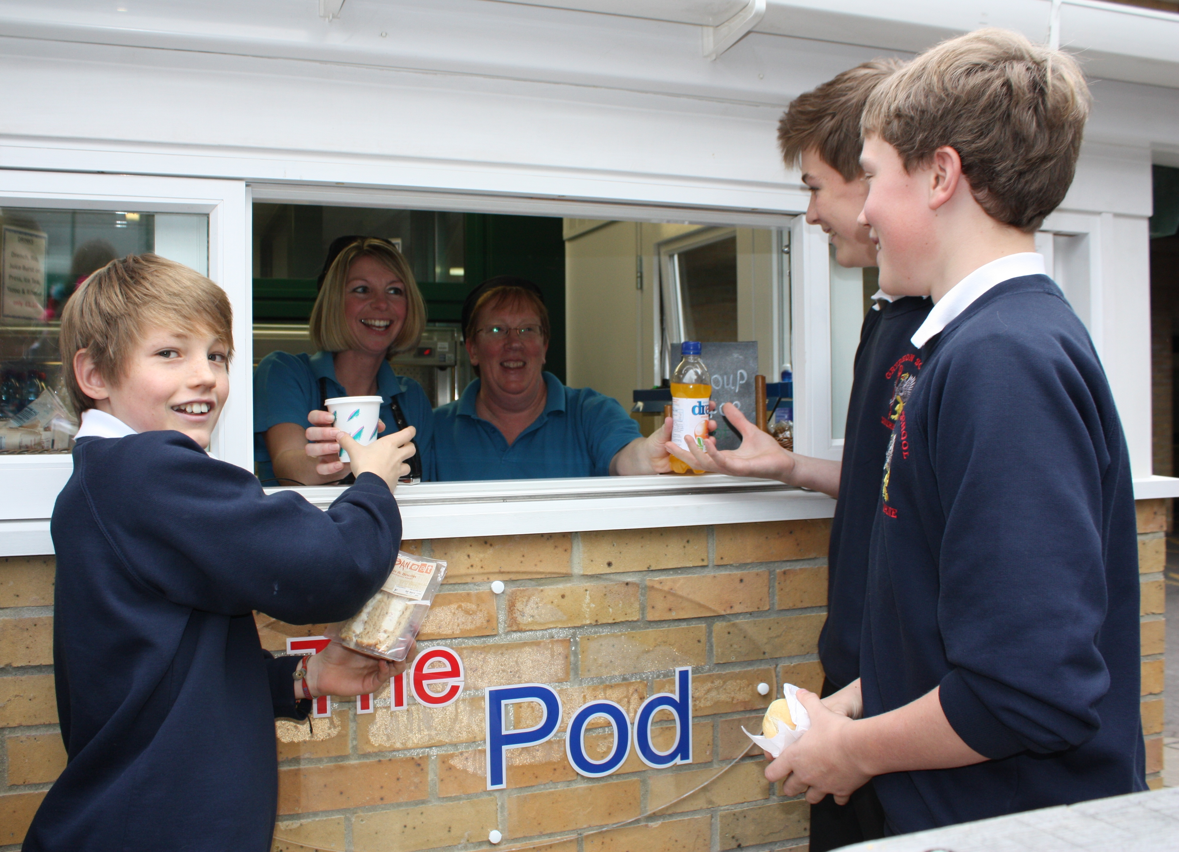 Casper Barker, Gabriel Pickin and Jasper Hodgson from Year 8 buying lunch at The Pod