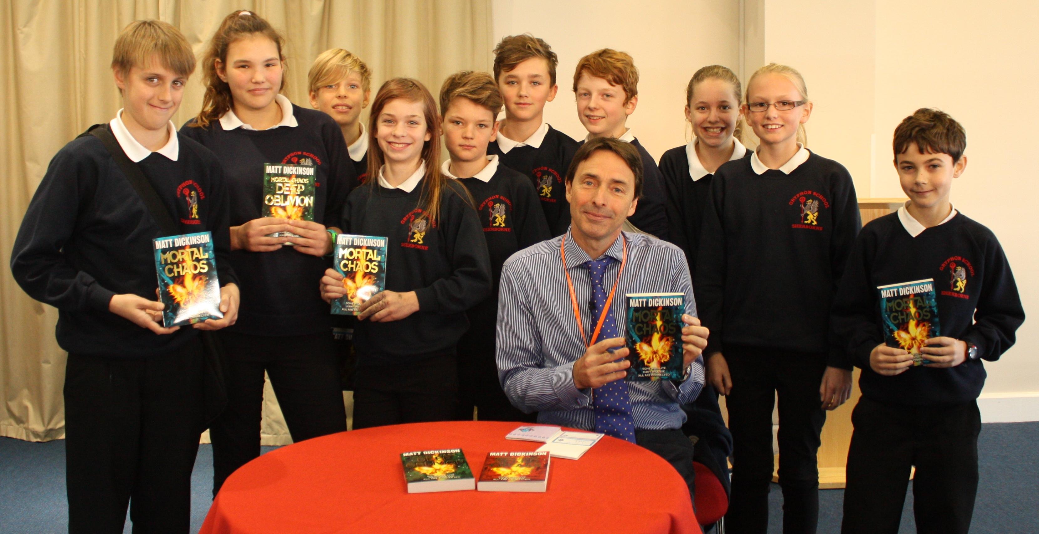 Year 8 students with Matt Dickinson